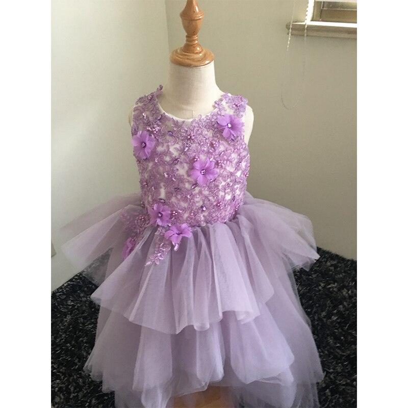 Robe de bal 3D robes de demoiselle d'honneur pour les mariages court avant long dos robe de bal formelle pour les enfants 2-14 ans
