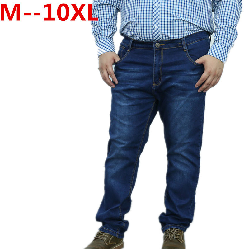 9XL 8XL 6XL 5XL 4XL 2017 New design jeans men Famous Brand Men Slim Jeans male 100% Cotton Straight pants Long denim Trousers