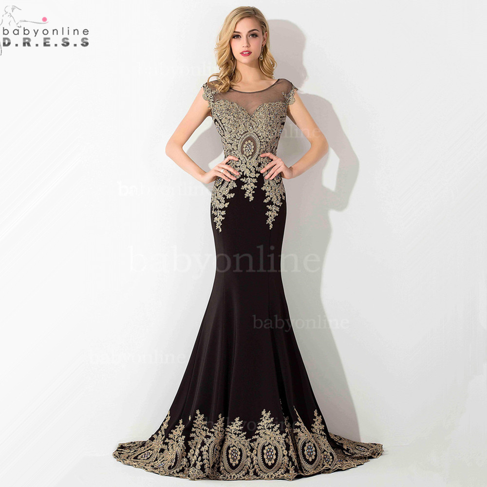 Black and Gold Mermaid Prom Dresses
