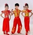Crianças Traje Dança Nacional Executa a Dança tradicional Chinesa Kung Fu Artes Marciais para Menina e Menino Traje de Dança
