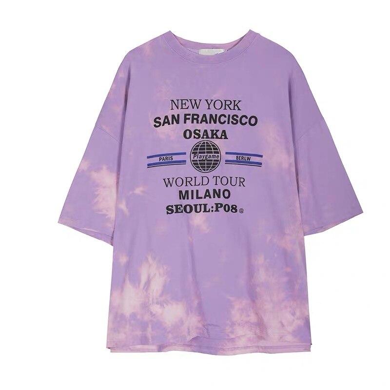 Oversize Short-sleeved T-shirt Men/'s Tide Brand Hip-hop Ins Loose Couples Tee