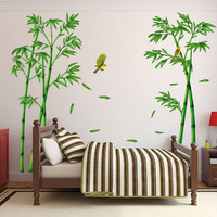 Free Shipping Large Size Removable 3d Bamboo Wall Stickers Living Room Paper Stickers Art Decals Home