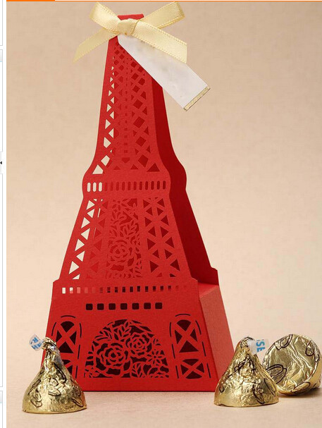 200 pieces Exquisite Classic Theme Red Cut out Eiffel Tower Wedding Favor Holder Candy Box Wedding Box in Storage Boxes Bins from Home Garden