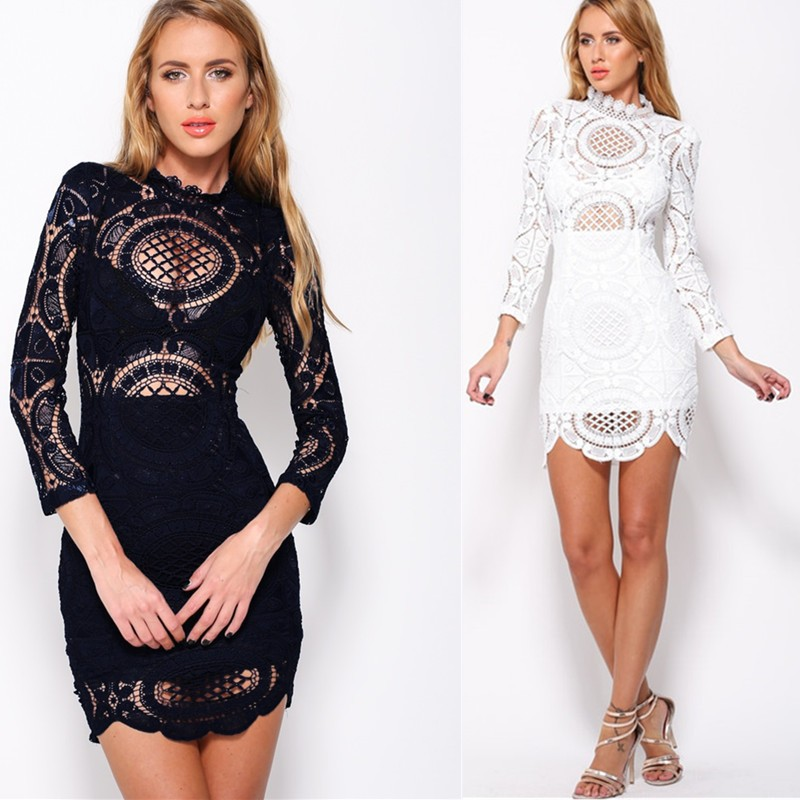 70a803769e9 High quality floral dress new arrival women lace dress 2016 white long  sleeve lace dresses turtleneck hollow out mini dress