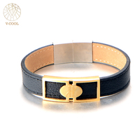 PU Leather Bracelets Bangles Length 20cm Gold And Silver Steel Accessories Bracelet Fashion Jewelry Gift For