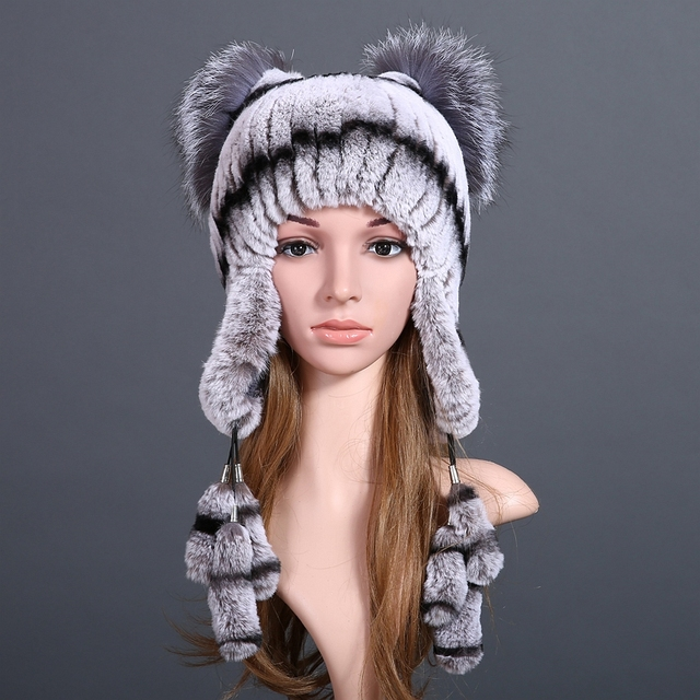 Women Winter Hat Beanies Real Rex Rabbit Fur Knitting Luxury Brand New Winter Cap Beanies 2016 Headgear Genuine Fur Hat Caps