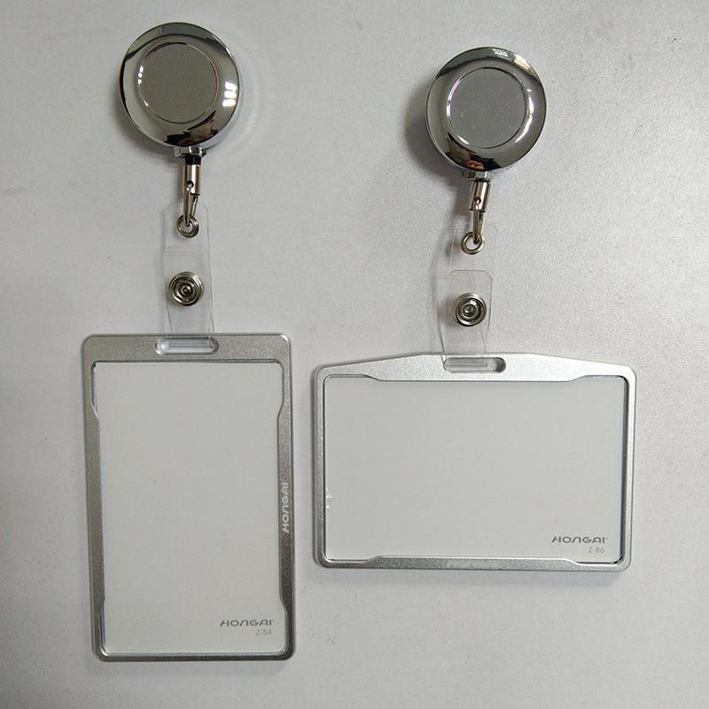 Metal credit card wallet women men bank card bag black card Case Bus ID holders Identity badge with badge reel PY062