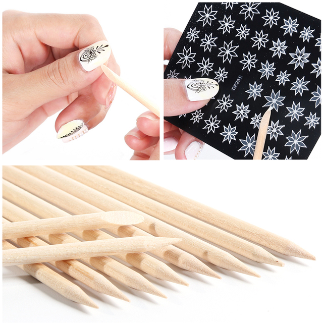 3 Types Wood Nail Art Care Tools Orange Stick For Cuticle Pusher