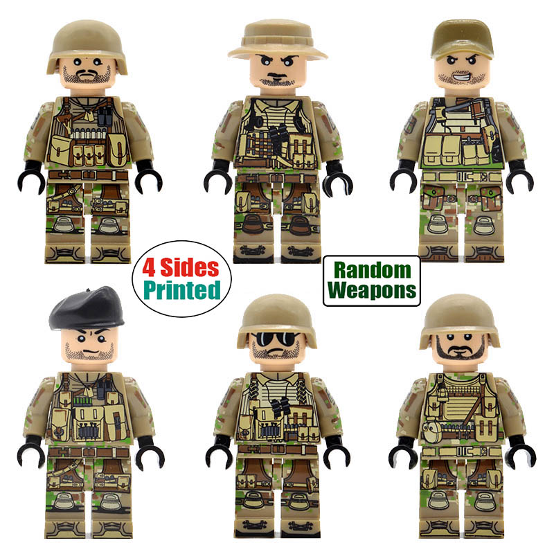 6pcs/set 4 Sides- printed Military Soldiers Modern Field Troops Mountain Special Forces Building Blocks Bricks Toys for Children6pcs/set 4 Sides- printed Military Soldiers Modern Field Troops Mountain Special Forces Building Blocks Bricks Toys for Children