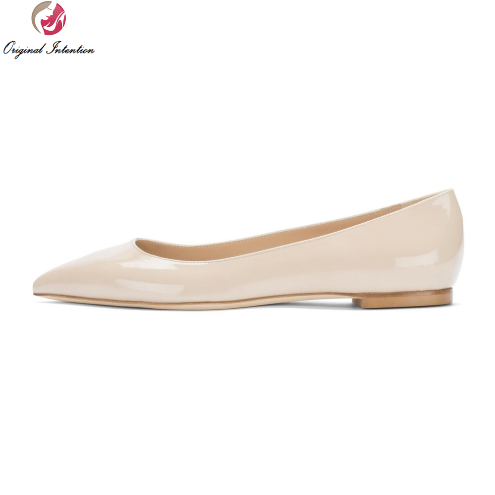 Original Intention Concise Plus EU Size 34-46 Women Flats Pointed Toe Causal Flats High-quality Nude Black Shoes Woman new 2017 spring summer women shoes pointed toe high quality brand fashion womens flats ladies plus size 41 sweet flock t179