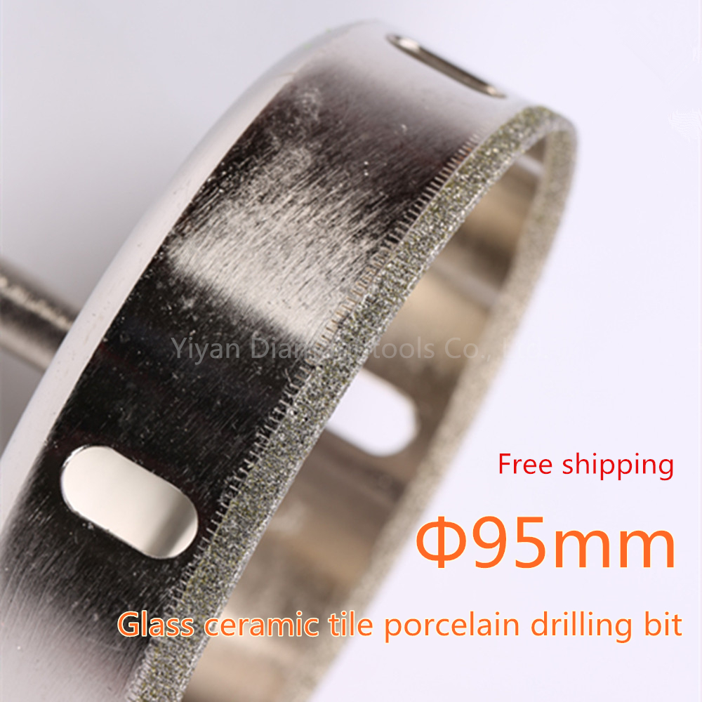 large size 95mm diamond powder coated core drill bit hole saw cutter for DIY glass tile ceramic hole cutting use free shipping cnbtr 50mm diamond hole saw drill core bit for marble stone granit tile cutter