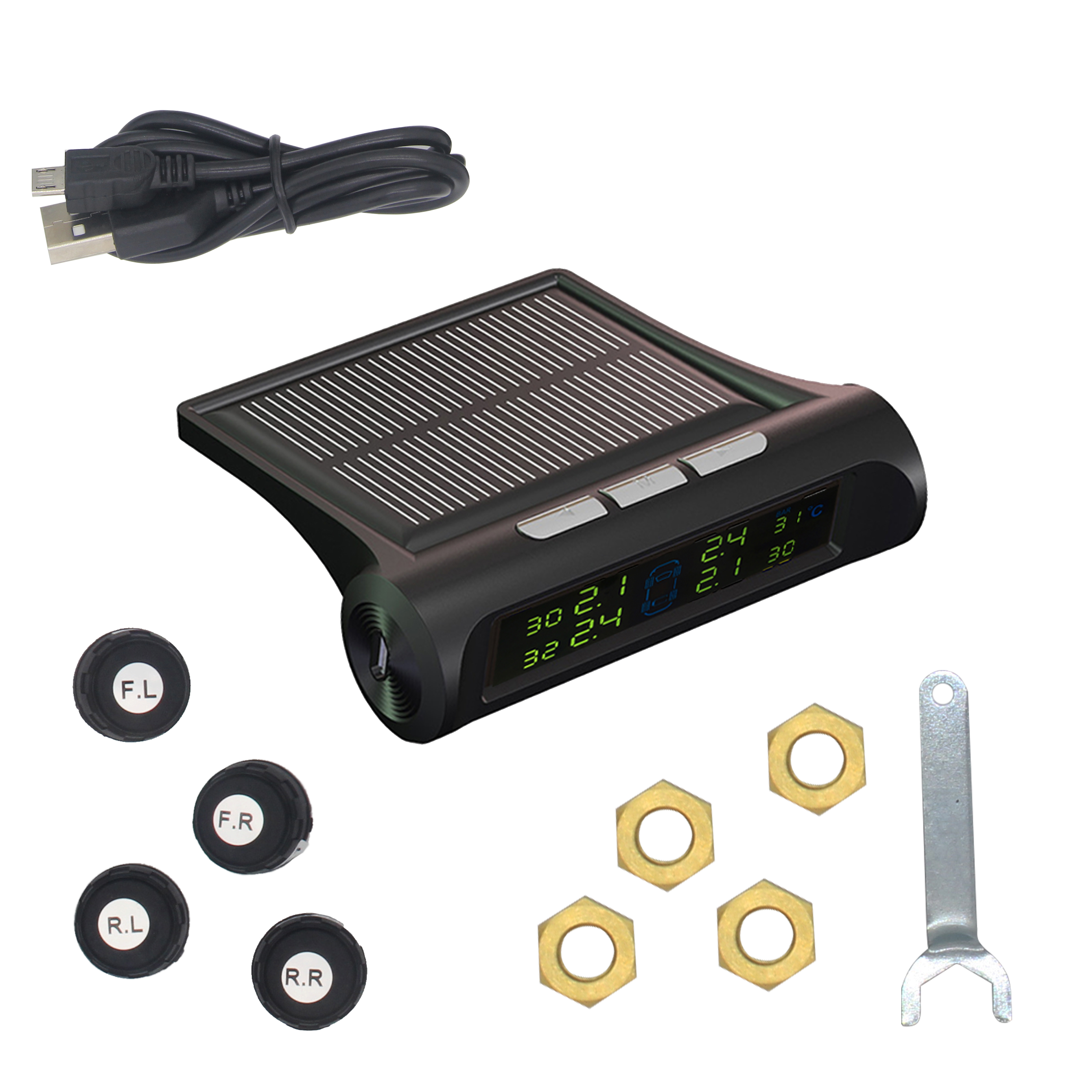 Smart Car font b TPMS b font Tyre Pressure Monitoring System Solar Power charging Digital LCD