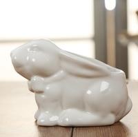 Cute Ceramics Rabbit Figurine Flower Planter Ornamental Porcelain Bunny Statue Plant Pot Craft for Home and Office Decoration