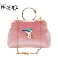 Women Velvet Bag Bird Embroidery Handbag Lady Vintage Retro Elegant Chain Shoulder Bag Chinese Crossbody Day
