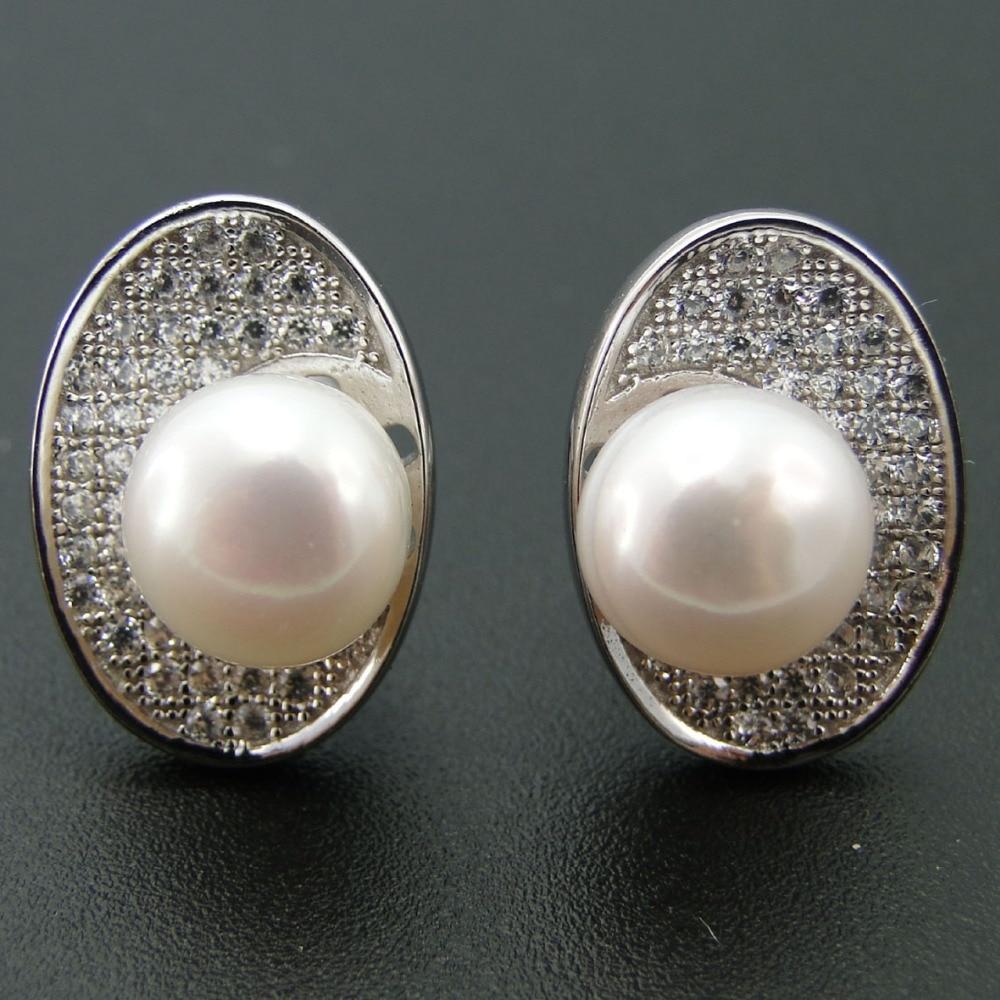 New Arrival Women Earring Genuine Freshwater Pearl Stud Earrings Fine  Jewelry 100% 925 Sterling Silver