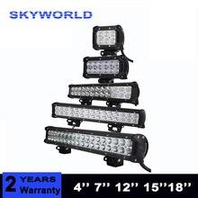 4 7 12 15 18 polegada 18 W 36 W 72 W 108 W Off Road LEVOU luz de Trabalho Barra de luz LED para Motos Tractor Boat 4WD 4×4 Truck SUV ATV 12 V 24 V