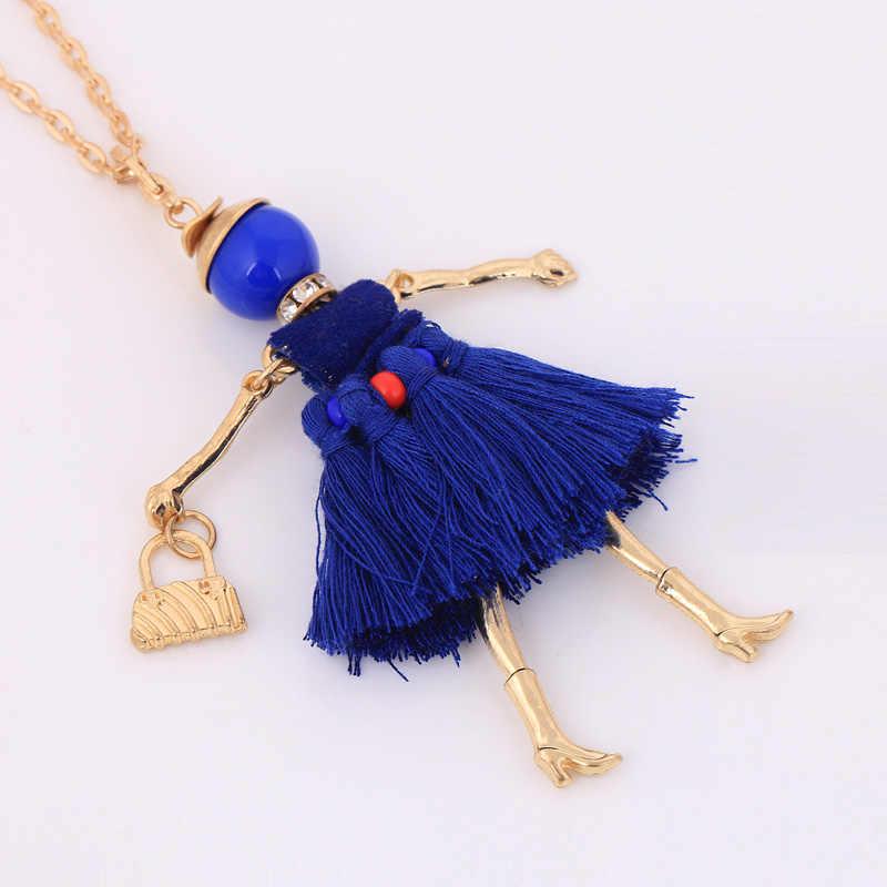Francese della collana di modo del vestito della nappa lunga collana di catene del pendente della ragazza dei monili di modo sveglio delle signore delle donne blu grande choker