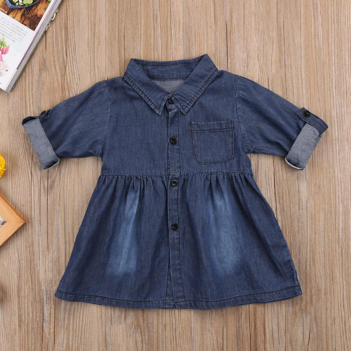 Kids Baby Girls Princess Jeans Casual Dress Denim Party Dresses Clothes Fashion Casual Button Solid Long Sleeve Mini Dresses