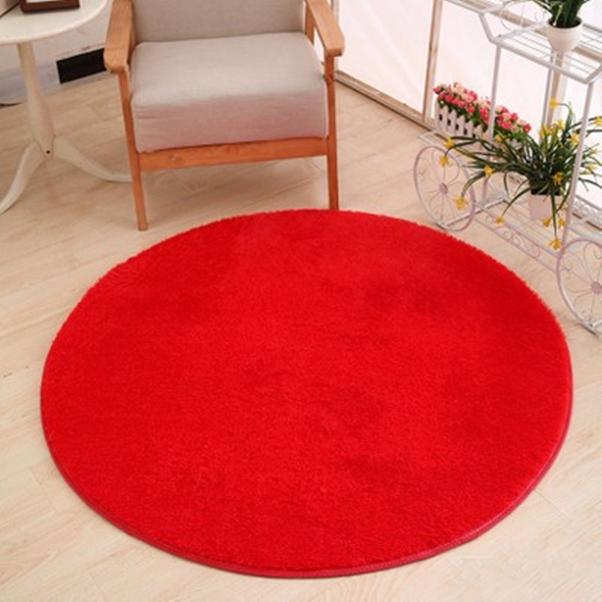 Long Hair Faux Fur Living Room Bedroom Carpet Rug Fashion Red Floor Mats  Modern Shaggy Round Rugs Carpets For Home Yoga Mat