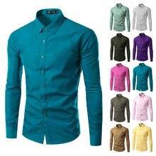Camisa clothing masculina рабочая модный сплошной случайные рубашки длинным бренд мужской