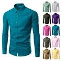 2016 marca de moda mens clothing shirt longo da luva dos homens camisa masculina camisas de vestido ocasional desgaste do trabalho cor sólida dos homens 6492