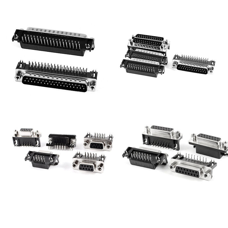 5PCS DR9 DR15 DR25 DR37 9/15/25/37 Pin 90 Degree Female Male Socket D-sub <font><b>PCB</b></font> Mounting Connector DB9 DB15 <font><b>DB25</b></font> DB37 image