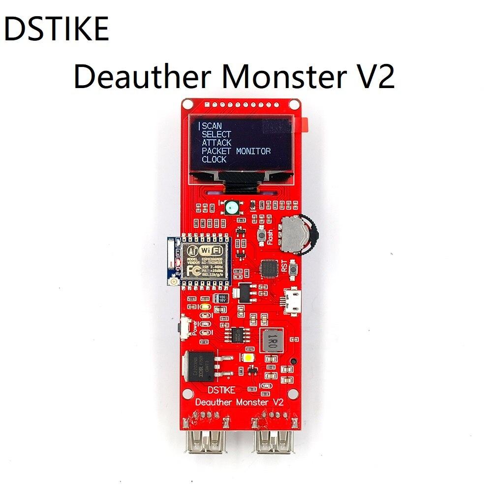 DSTIKE Deauther Monstre V2 ESP8266 conseil de développement 18650 puissance banque 2 USB port 5 V 2.5A sortie WiFi Attaque Hack arcylic cas