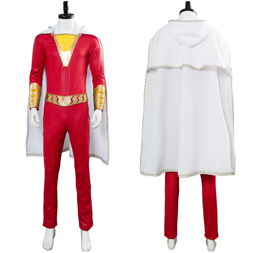 2019 Movie Shazam Cosplay Billy Batson Costume Outfit Captain Marvel Shazam Costume Jumpsuit Halloween Carnival Costume