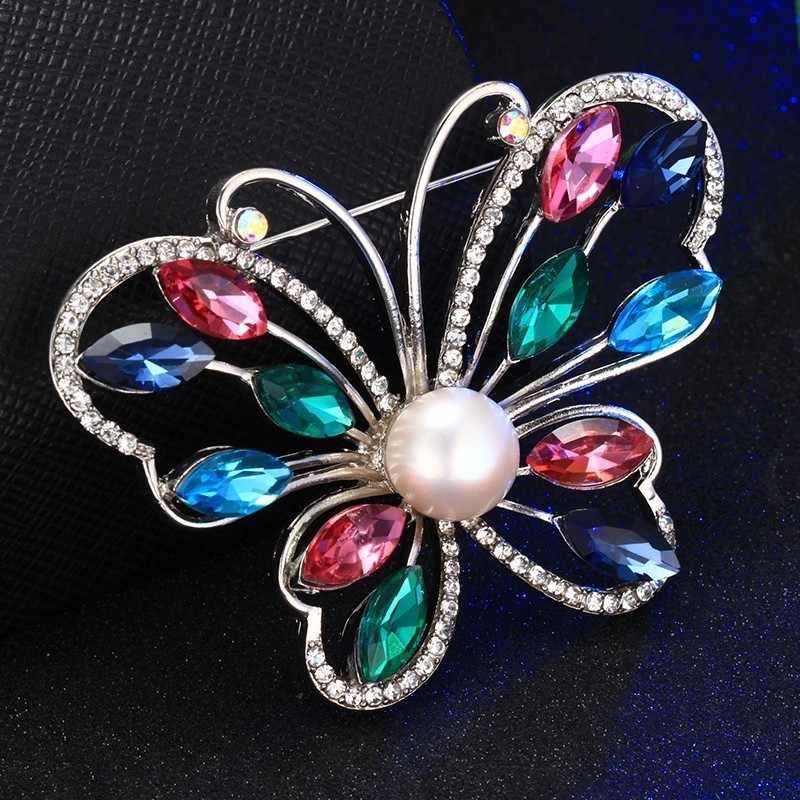 HENGSHENG Merk Kleurrijke Vlinder Vrouwen Broche, Real Natuurlijke Parel Met AAA Zirkoon, Zilveren/Rose Goud, Mode sieraden Geschenkdoos