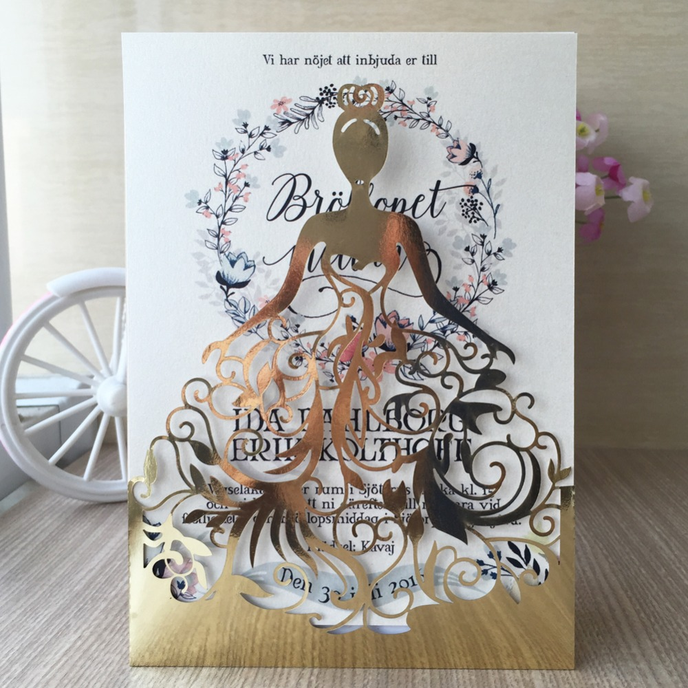 12pcs/lot laser cut Beautiful dress girl design birthday party decoration wedding invitation
