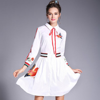 RYTISLO Female Official Pleated Dresses Bow Tie Turn Down Collar Waist Dress Women Appliques Embroidery Birds