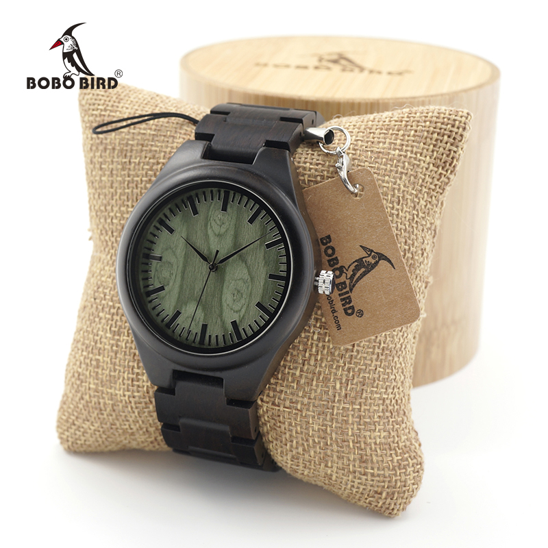 BOBO BIRD Mens Black Ebony Wooden Watches Green Wood Dial Wood Links Causal Quartz Wrist Watch in Gift Box швейная машинка veritas famula 35