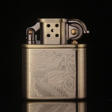 Vintage Gadget Great Wall Pattern Metal Copper Gasoline Kerosene Lighter,Men's Cigarette Briquet