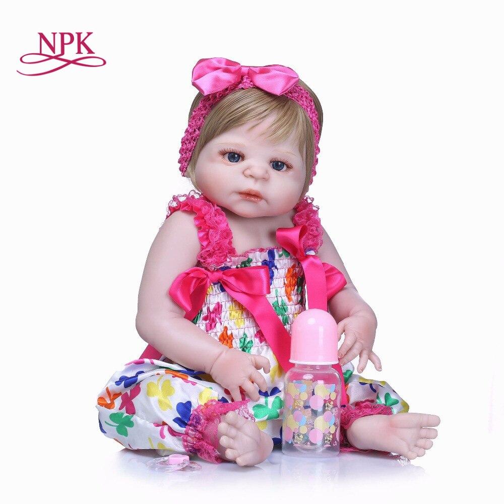 NPK56CM Doll Reborn Full silicone Vinyl Babies Doll For Girls Realistic Soft Alive baby Reborn Baby