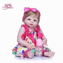 NPK 22 Inch Doll Reborn Full Vinyl Babies Doll For Girls 55CM Realistic Soft Alive Reborn Baby Doll For girls Kids Playmates