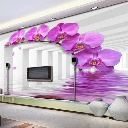 Study Room Wallcoverings Modern-style Violet Flower Custom Size 3D Photo Wallpaper Backdrop Stereoscopic Murals Wall Paper flower violet w edp
