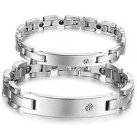 sano dei monili di fashion lover bracciale argento acciaio inossidabile dell'intarsio nero magnete store & cz pietra della coppia noble braccialetto