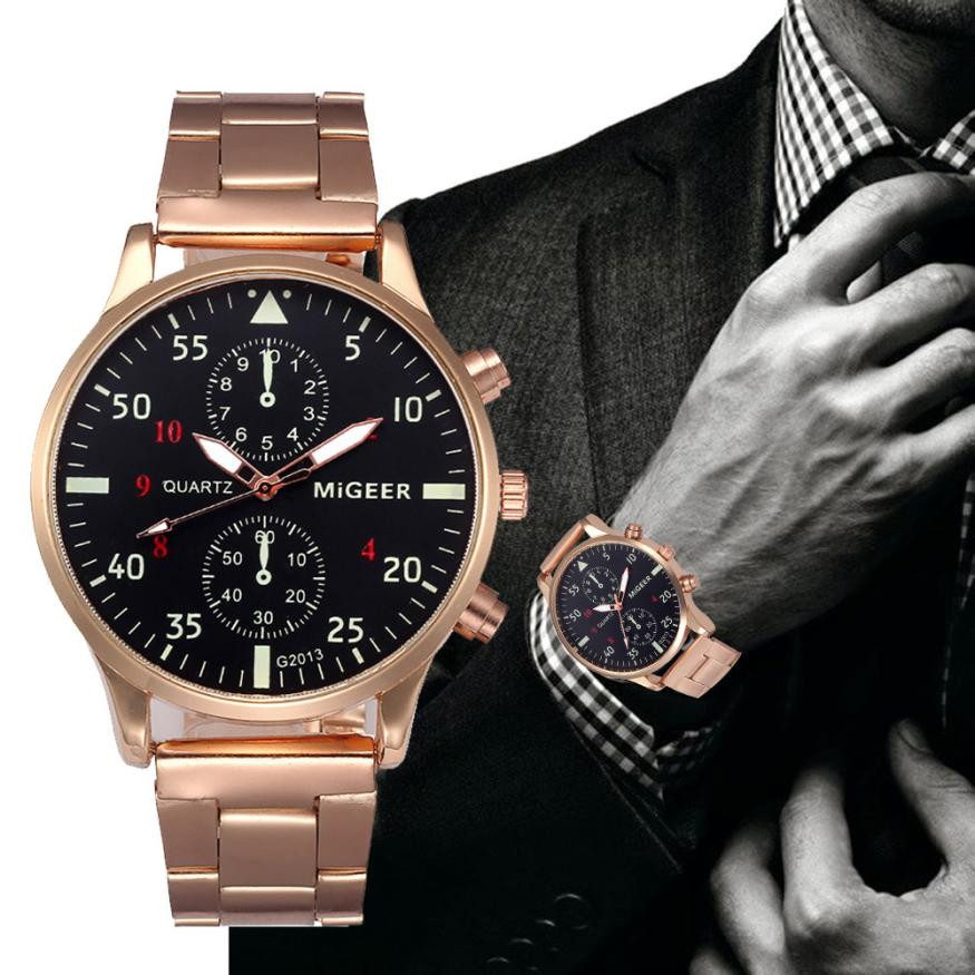 MIGEER Men's Watches Luxury Stainless Steel Analog Quartz Watch Men Top Brand Business Wrist Watches Male Clock Relogio #LH