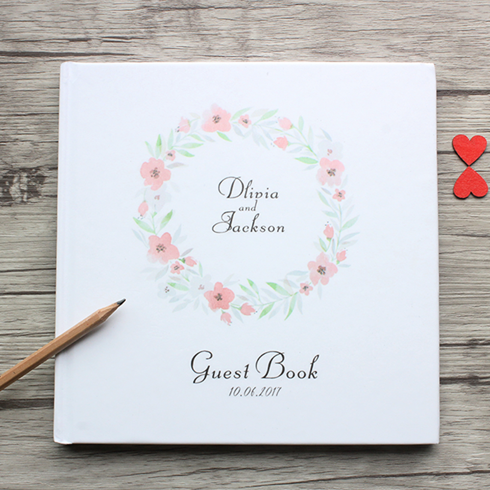 Personalized White and Floral Wreath Wedding Guest Book,Custom Fresh Style White Wedding Guest Book,Flowers Photo Album Sign