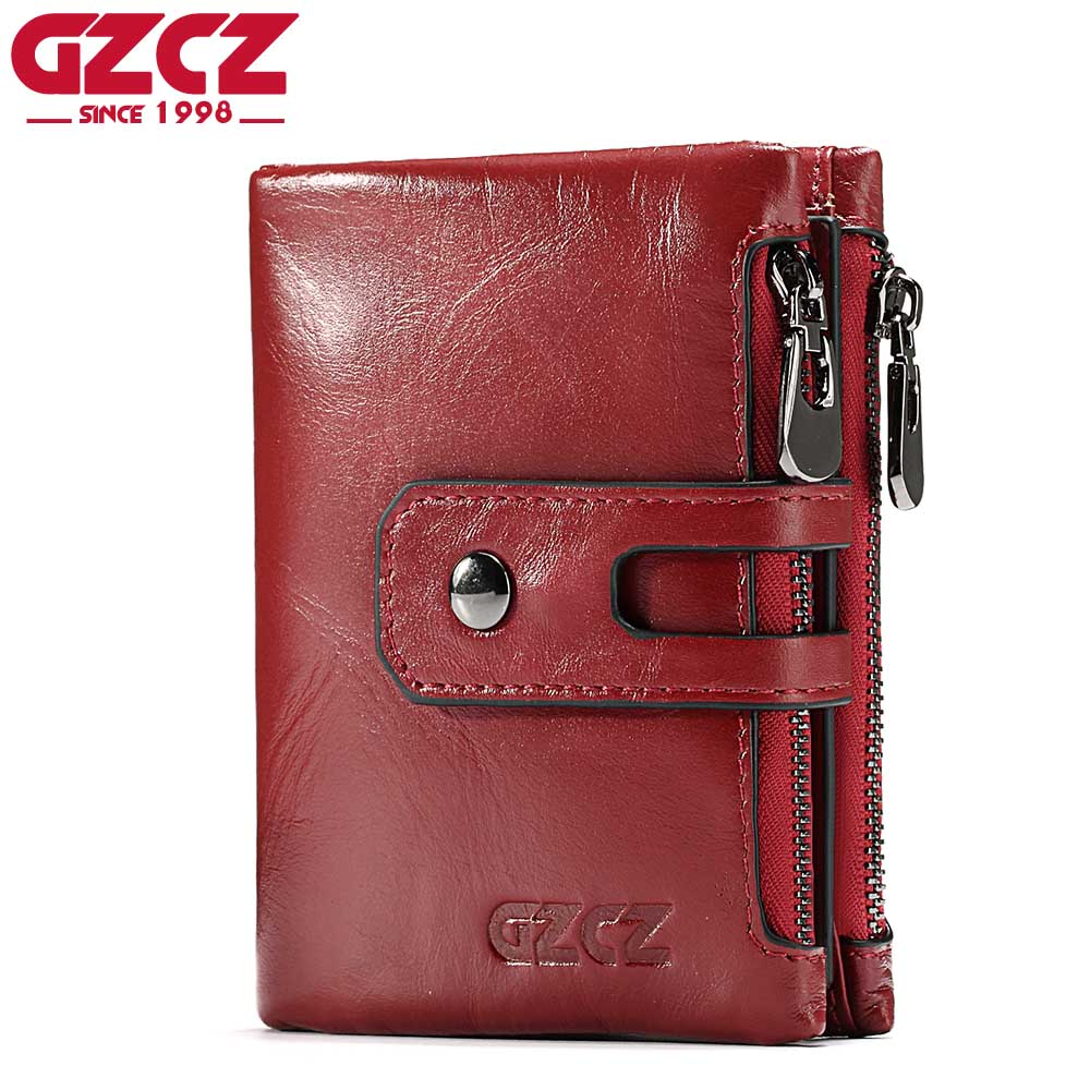GZCZ Women Wallet Female Genuine Leather Short Wallets Coin Purse Small Card Holder With Zipper Clamp For Money Bag Portomonee wallet