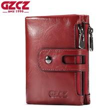 GZCZ Для женщин кошелек женский из натуральной кожи короткие кошельки Портмоне Малый держатель для карт с молнией зажим для денег сумка Portomonee