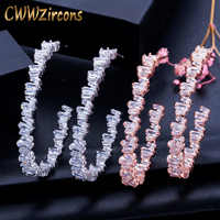 CWWZircons luxe Baguette cubique zircone femmes fête de mariage grand cercle or Rose cerceau boucle d'oreille haute joaillerie Addiction CZ439