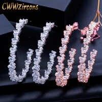 CWWZircons Luxus Baguette Zirkonia Frauen Hochzeit Party Großen Kreis Rose Gold Hoop Ohrring Hohe Schmuck Sucht CZ439