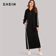 SHEIN Sudadera negra a rayas con cremallera, vestido con capucha para mujer, otoño 2019, vestidos largos informales rectos de manga larga