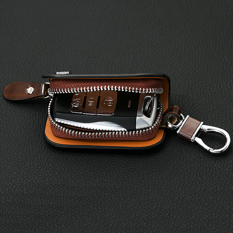 SNCN Leather Car Key Case Cover Key Wallet Bag Keychain Holder For MG 3 6 ZT T TF ZR ZT GS ZS Accessory Genuine Leather in Key Case for Car from Automobiles Motorcycles