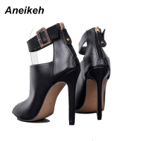 Aneikeh Gladiator Women Pumps Ladies Sexy Buckle Strap Roman High Heels Open Toe Sandals Party Wedding Shoes Size 35-40 Black  2