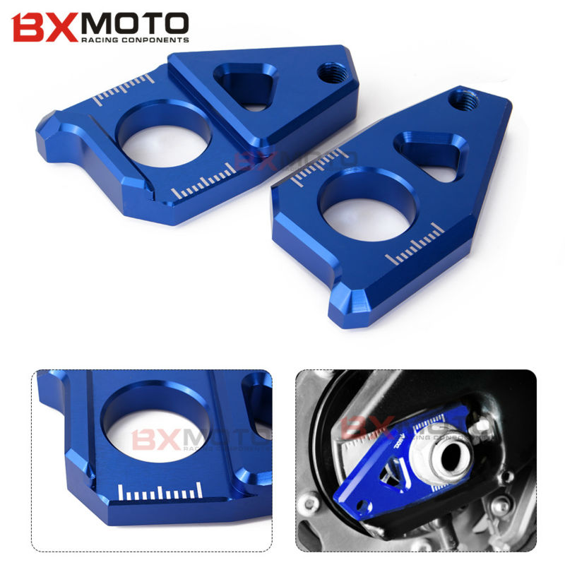 Fashion CNC Blue Motorcycle Blocks Rear Axle Spindle Chain Adjuster Fit for Yamaha TMAX 530 500 FZ8 FZ1 YZF R1 2012-2016