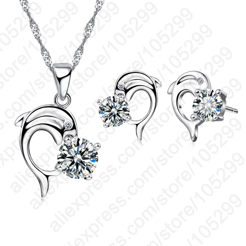 2020 Trendy Dolphine Design Pendant 925 Sterling Silver Fine Jewelry Necklace Earring For Women Wedding Set Gifts