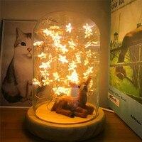 New LED Fire Tree Silver Flower Romantic Glass Cover Bedroom Desk Night Light Lamp Wholesale Free