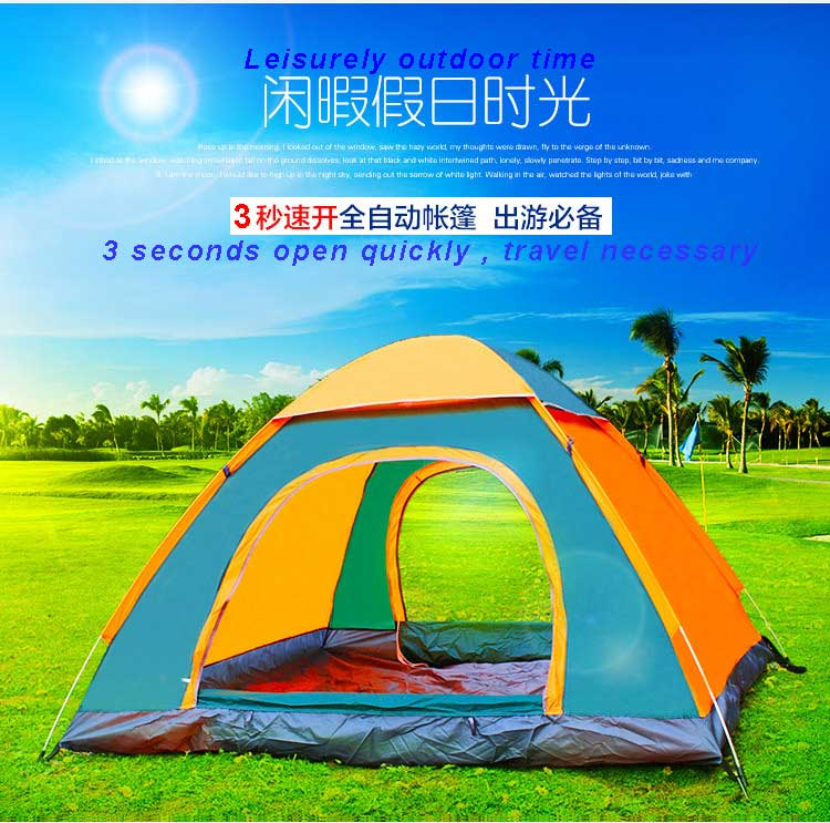 ФОТО Two Person Double-layer Quick Automatic Opening Camping Tent UV-Protective Hiking Beach Picnic Outdoor Tent with Carrying Bag